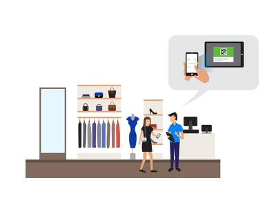 Shopping wechat characters mobile retail shop ecommerce shopping vector graphics illustration