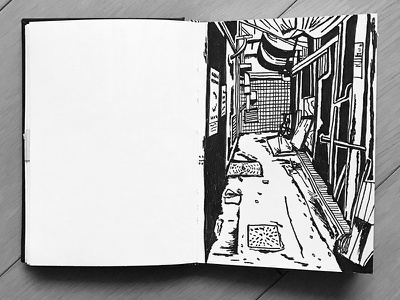 Back alley sketch buildings ink city ally backalley drawing illustration sketchbook sketch urban
