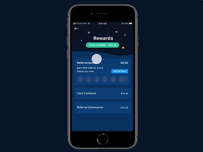 Rewards landing page wallet listing rewards animation ui invisionstudio motion interaction app confetti crypto