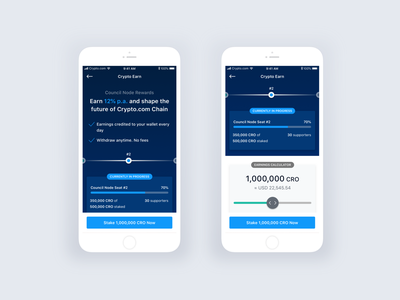 Crypto.com Chain: Council Node Rewards token chain app design ios product cryptocurrency rewards node finance crypto interface ux mobile ui
