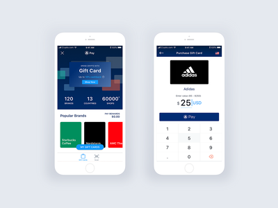 Crypto.com Pay: Spend crypto with Gift card pay gift starbucks purchase transaction product ux ui ios mobile interface gift card wallet cryptocurrency app crypto