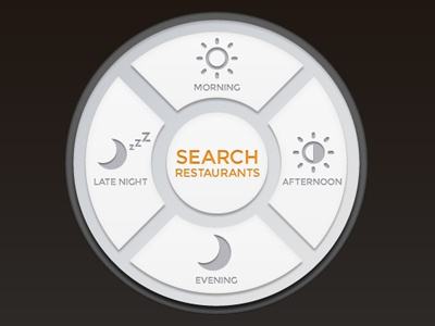 search by hours UI search time hours restaurants morning night afternoon evening circular ui interface button