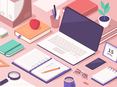 Education isometric design isometric illustration design desk laptop education vector isometric illustration