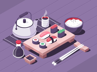 Sushi tea japan digital japanese food sushi design isometric vector illustration