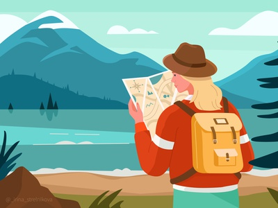 Little journey vector illustration illustration design illustrations travel mountains character vector illustration art illustration
