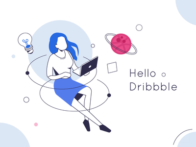 Hello Dribbble! vector isometric dribble hello
