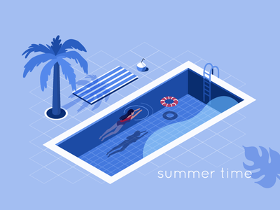 Summer time lady character travel swimming pool summer flat isometric