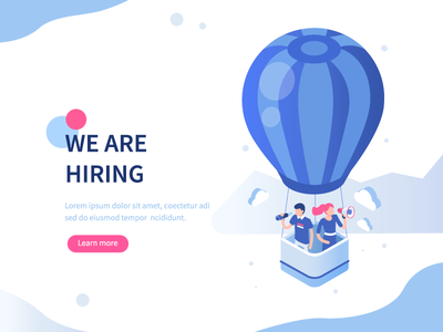 Recruitment concept page landing hire balloon flat illustration isometric