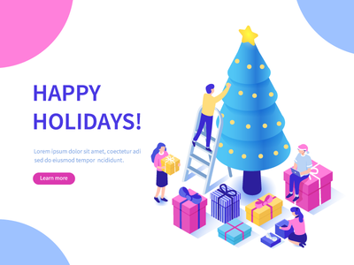 Happy holidays people design new year tree christmas character flat vector illustration isometric