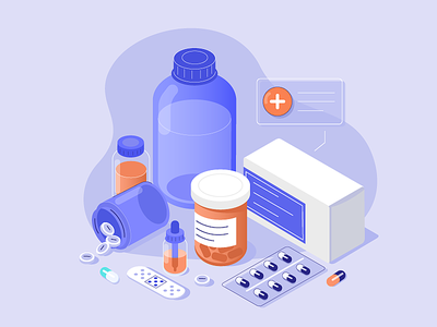 Medications prescription doctor design medical medicine health flat vector illustration isometric