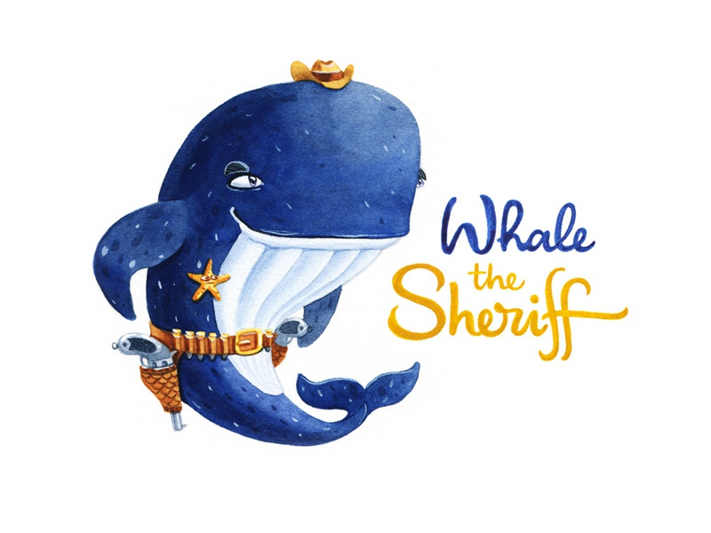 Whale the sheriff character design whale callygraphy lettering artctopus character watercolor