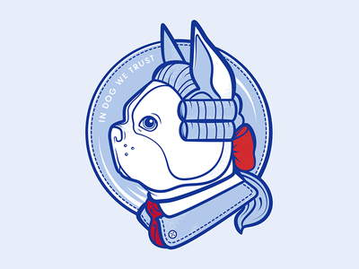 Bostonian illustration badge blue logo dog boston terrier