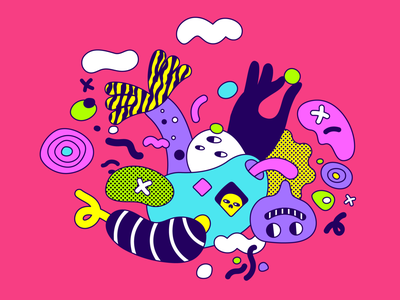 Clik Flip - Game interactive weird graphic colourful indie game awkward abstract pattern flat illustrator design character illustration vector