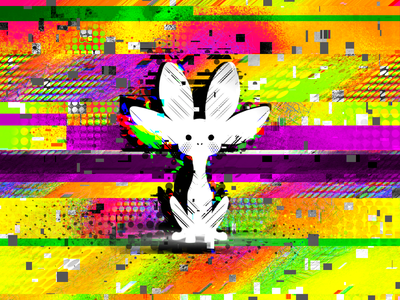 Blip - NVIDIA Unofficial Mascot animal procreate pocket procreate playoff nvidia error pixel digital alebrije color colorful glitch effect glitch art glitch cute character illustration