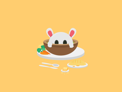 Small Plates | Rabbit Stu yellow stew soup cute bunny rabbit food animal character vector illustrator illustration