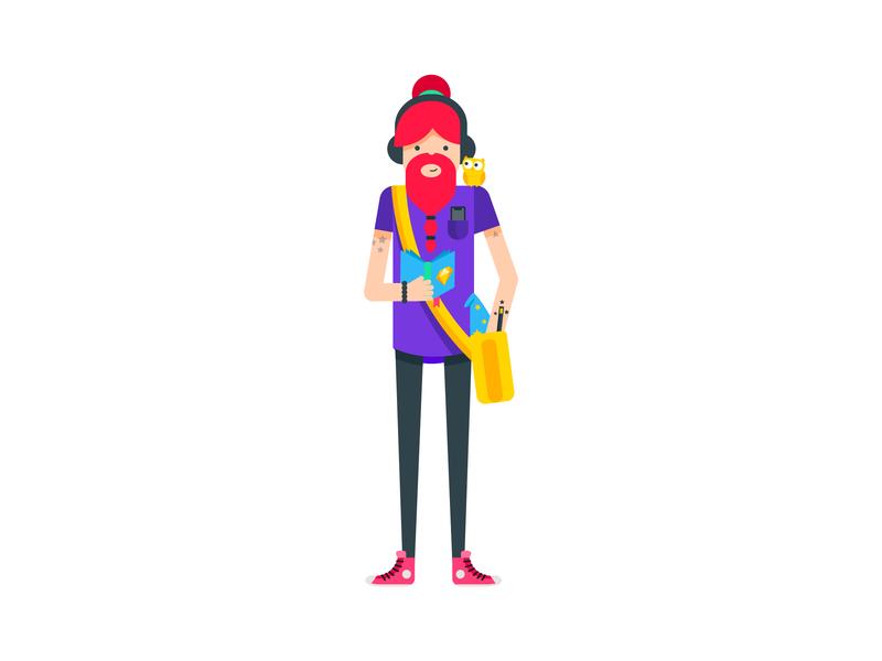 Designer Wizard hipster hippie dude man male human owl wizard illustrator illustration design flat  design character design character bright color designer design vector graphic flat illustration