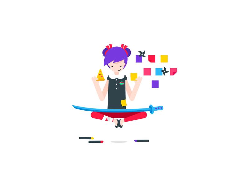 UX Ninja human female woman character art character concept bright colours bright colors ninja girl flat ux cute graphic illustrator design character illustration vector