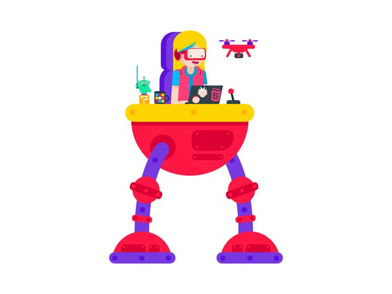 Megamind Developer bright colors bright colours human mech nerd drone flat woman female geek girl pop culture robot developer graphic illustrator design character illustration vector