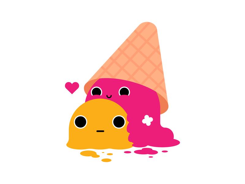 Scoops dessert yellow pink adobe creature food cone sorbet scoop icecream love valentine day valentine cute graphic illustrator design character illustration vector