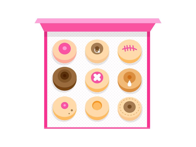 Mixed Pack cute female flat design food dessert sweet donuts boob boobs pink flat illustrator design graphic illustration vector