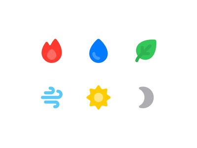 Element Icons simple game moon dark sun light air leaf earth water fire nature icon set icon