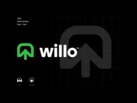 Willo line point grid branding minimal simple logo w arrow nature tree willow willo