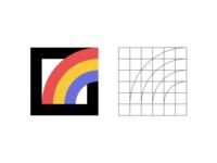 Rainbow construction square nature minimal simple grid brand logo icon rainbow