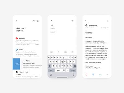 hellomail ios zero inbox simple minimal ui  ux app mobile mail email