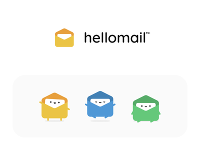 Characters & Icons for Hellomail logo branding moods app icon minimal simple app email letter cute character design character mail hello