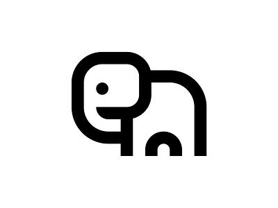 Elephant line elephant steven brand animal icon branding cute nature logo minimal simple