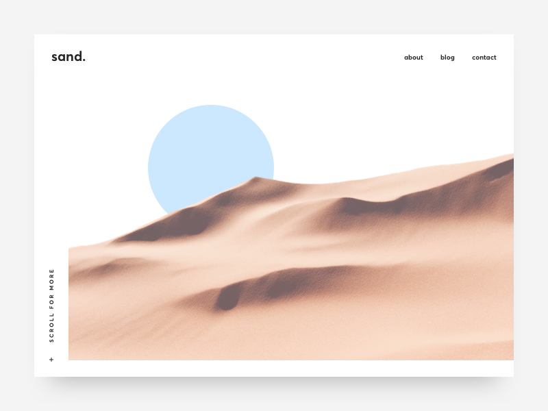Sand sand clean simple website landing page ui