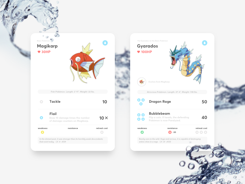 Pokémon Cards nintendo game clean minimal simple water cards magikarp gyarados pokemon