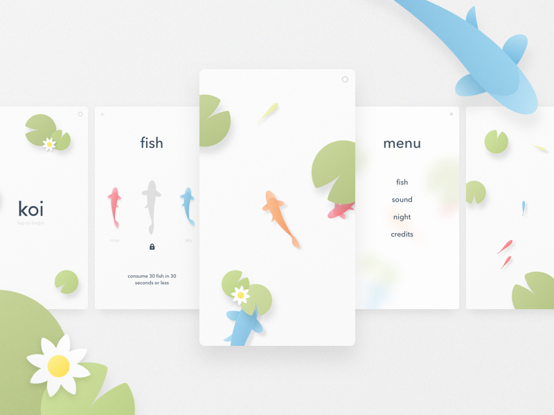 Koi Game Concept ui minimal simple pond concept mobile ios game fish koi
