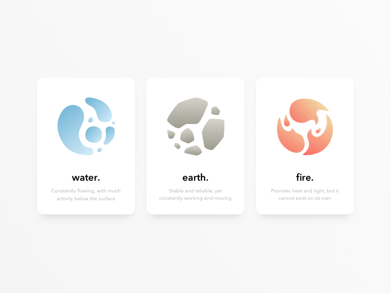 Element Cards nature ui cards minimal fire earth water elements