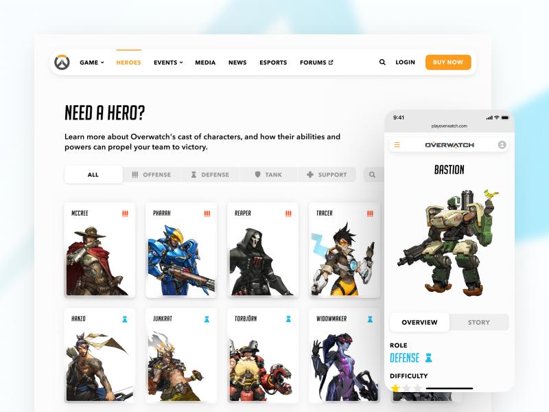 overwatch clean simple minimal video game interface hero iphone x ui game overwatch