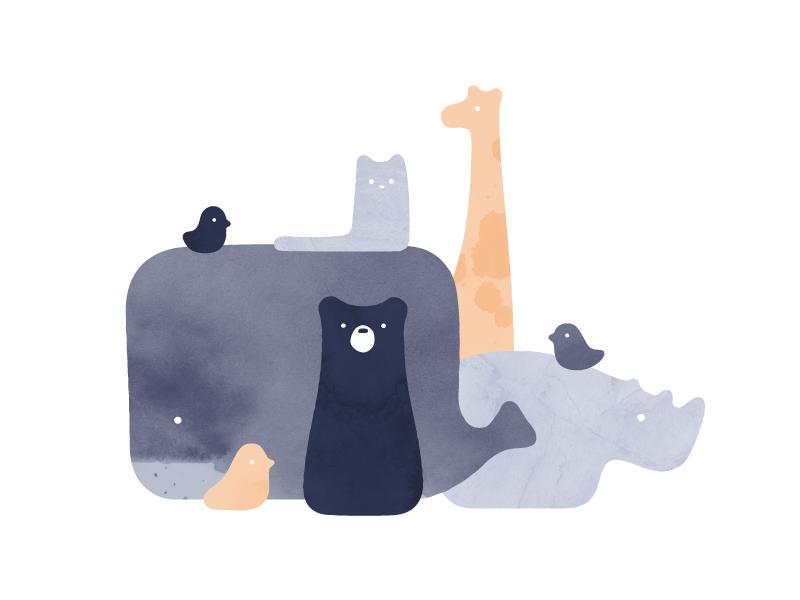 Friends cute watercolor minimal simple bird cat rhino giraffe bear whale illustration animals