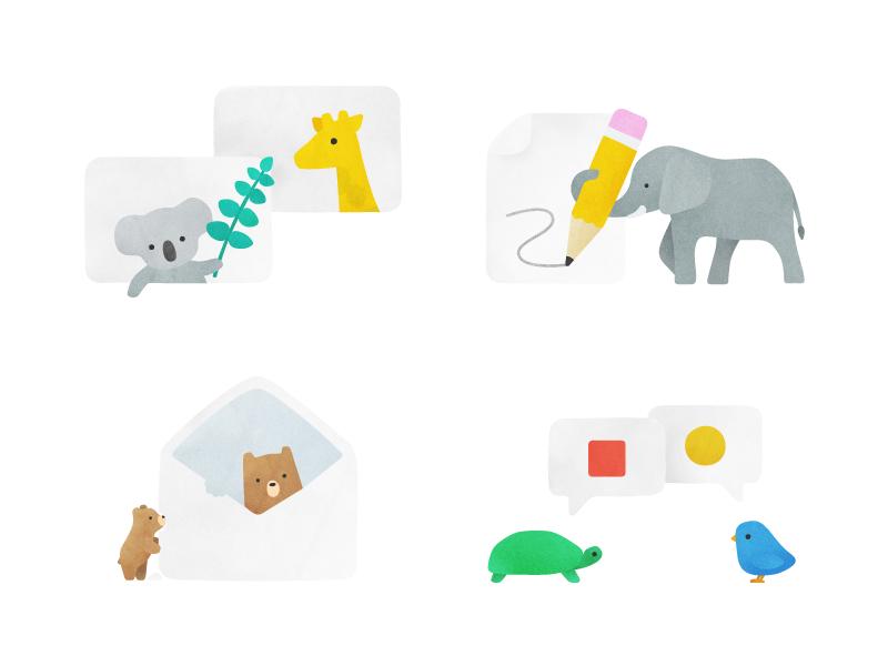 Animal Spot Illustrations simple cute bird turtle bear elephant giraffe koala product illustrations empty state animals