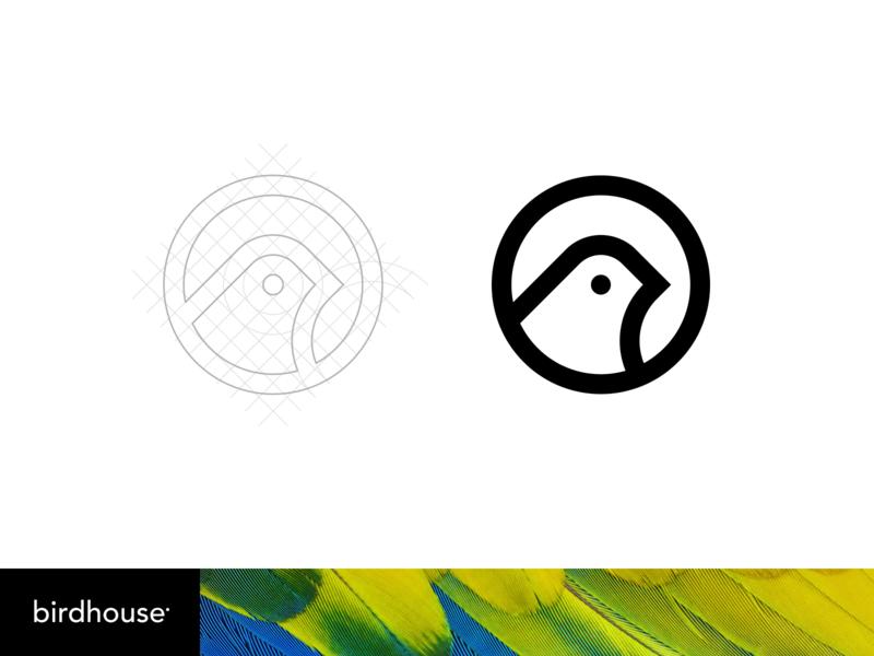 Bird Logo circle geometry feather simple animal branding grid birdhouse bird logo