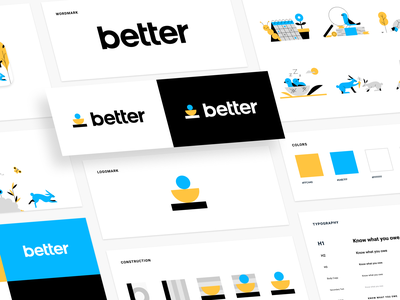 Better – Brand Identity tax finance app turtle rabbit bird semicircle finance balance stack shapes animals brand illustration logo styleguide identity brand better brand guide