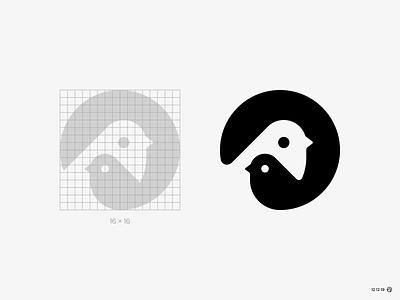 Family birdmark cute animal minimal bird logo icon negative simple nest circle nature brand logo birds bird