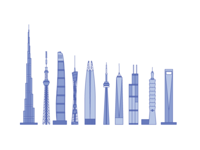 Tall Buildings of the World purple flat art simple illustration architecture