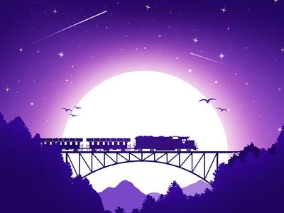 First shot! firstshot debuts dribbble hello bridge moon silhouette forest environment conceptart landscape illustration