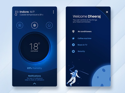 Smart home control app ux ui smart side remote navigation menu iphone ios app theme black