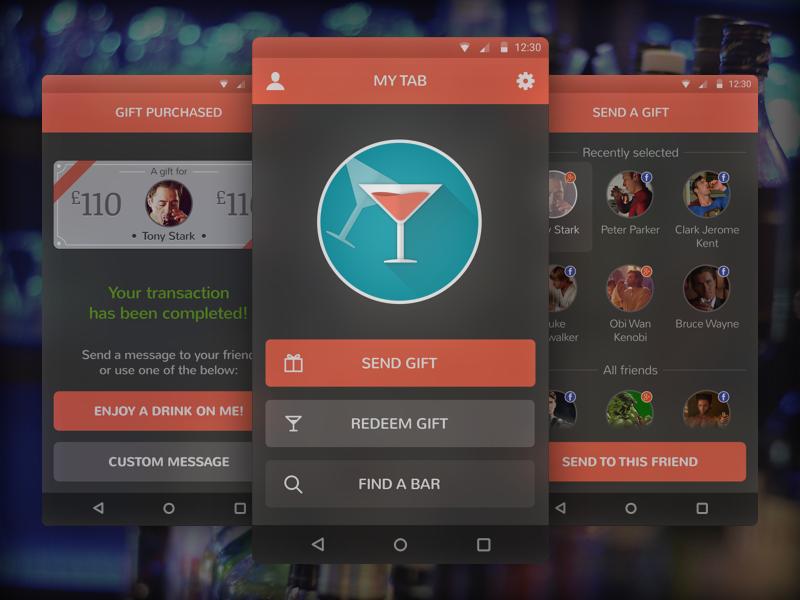 My Tab App map superheroes tgif booze app design material android ux ui