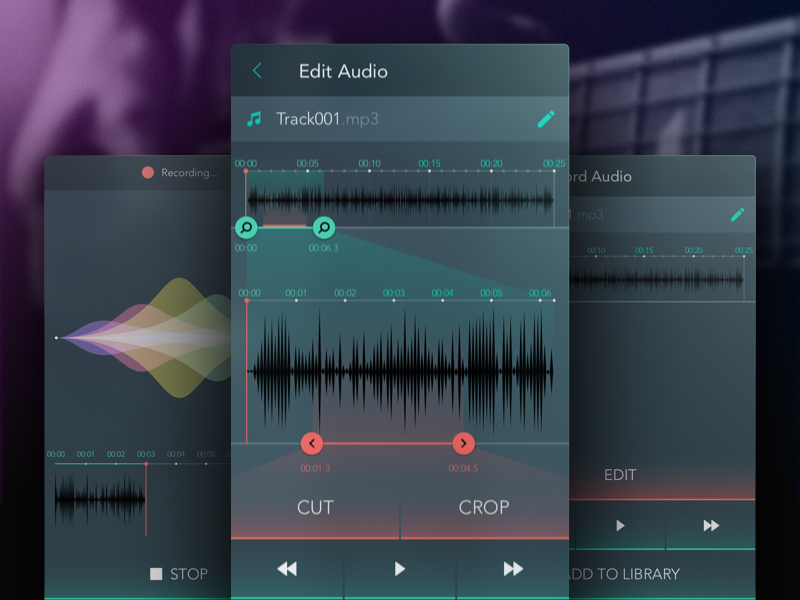 Audio Editor Concept ux waves mobile android ui audio editing rnd