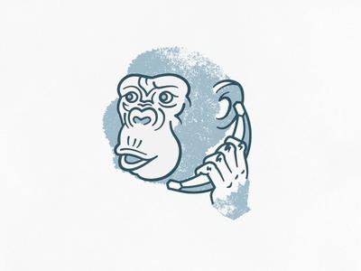 Hello, yes, this is monkey. monkey chimpanzee shirt banana blue illustration animal