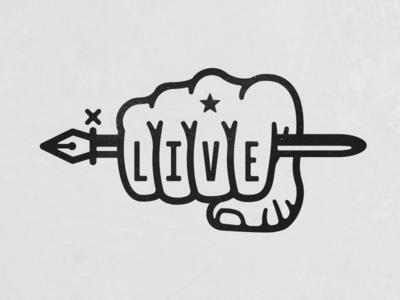 Live Hand Tat logo hand fist pen tool illustration