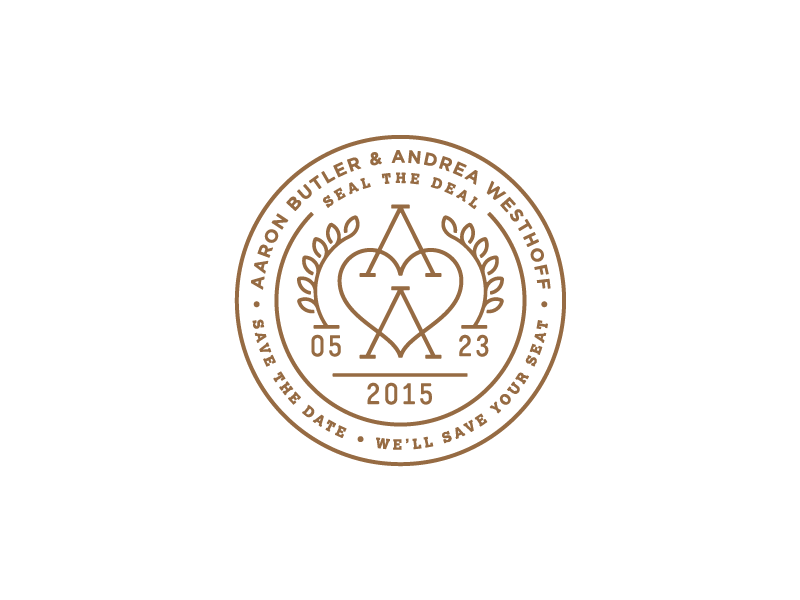 A<3A Wedding Stamp stamp wedding monogram heart a save the date laurel monoline marriage seal badge