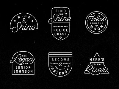 Moonshinery booze star moon monoline script shapes sign neon badge alcohol midnight moonshine