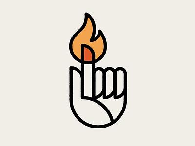That Finger is Fire 1 geometric burn flame monoline mark logo finger hand fire